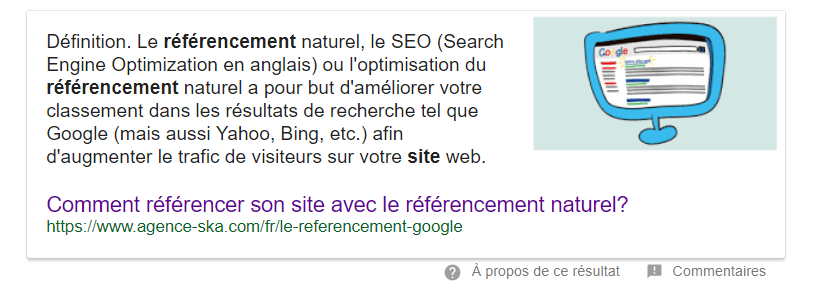 Featured snippets google agence SKA