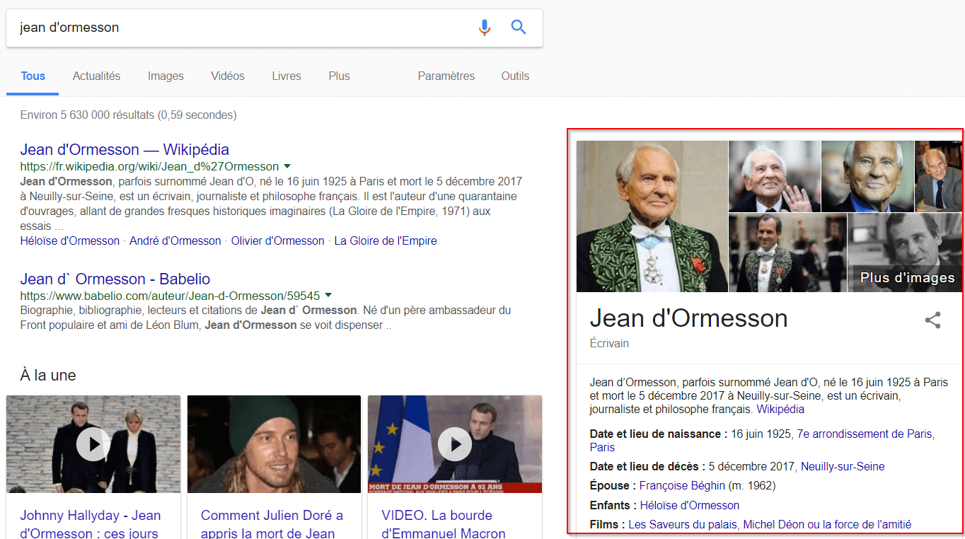 Knowledge Graph google jean dormesson