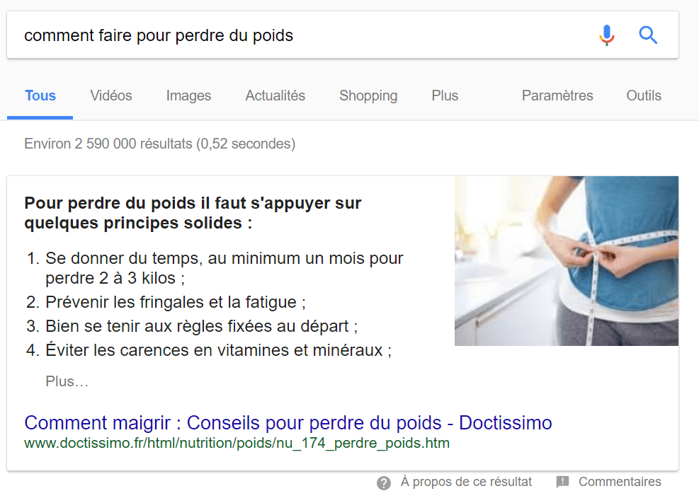 Liste google position 0 exemple