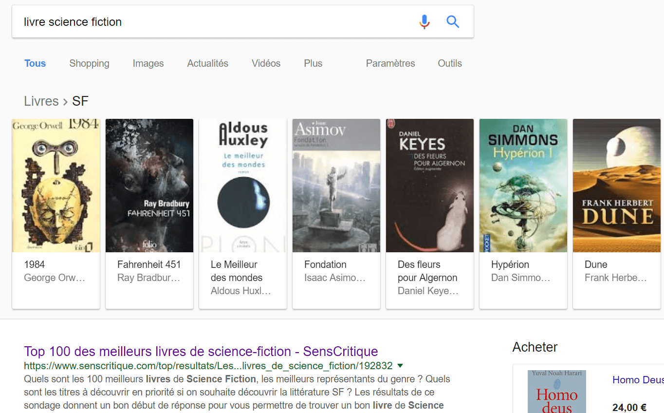 resultats Onebox google livre de science fiction