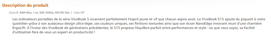 amazon description produit
